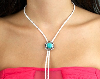 White Braided Faux Leather Bolo Tie with Turquoise Slide