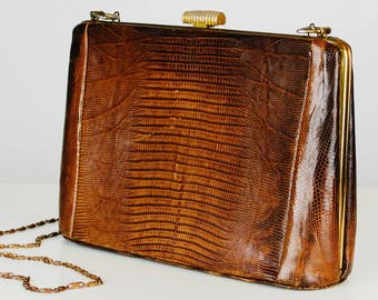 Vintage 40s 50s Classic Escort Bag Brown Tan Textured Lizard Leather Gold Tone Hardware Kiss Lock Chain Strap Purse