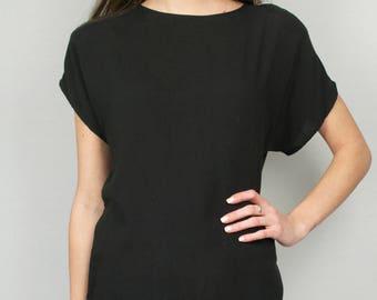 Vintage 80s Black Shoulder Pad Short Sleeve Cutout T-Shirt Tee Top