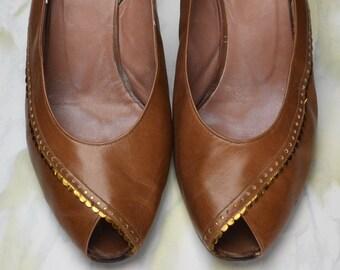 Vintage Christian Dior Leather Peep Toe Sling Back Ankle Strap High Heel Pumps 1970s Size 8
