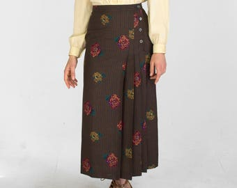 Vintage High Waisted Pleated Midi Skirt Slit Rose Floral Print Brown Red Yellow Womens Size Medium