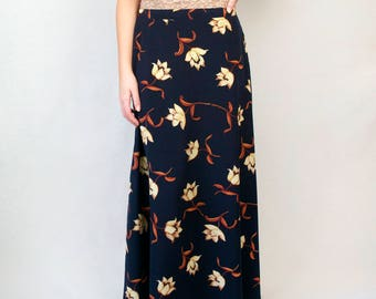 Vintage 80s Maxi Skirt Floral Flower Print Navy Blue Long Light Spring Summer