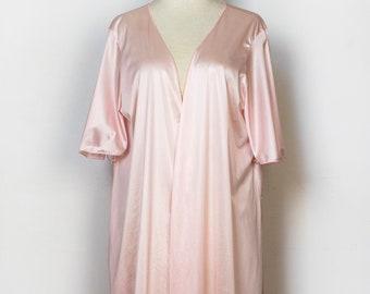 Vintage Robe Short Sleeve Satiny Silky Light Pink Open Wrap Short 1960s Lightweight Spring Summer Pocket Mistee Size Large