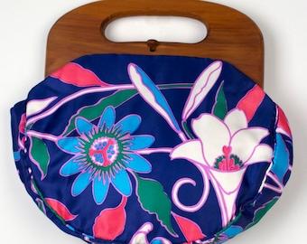 Vintage Bermuda Bag Wood Handle 1970s Retro Floral Tropical Island Flower Blue Pink Bright Print Women's Handbag Purse Spring Summer Resort