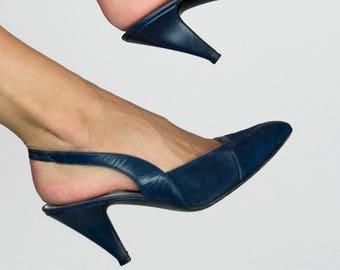 Vintage Christian Dior 1970s Leather Suede Pointed Top Sling Back Navy Blue High Heel Pumps Size US 8