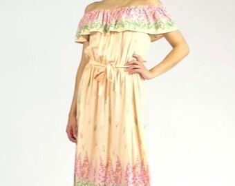 Vintage Maxi Off Shoulder Peasant Dress Ruffle Tie Belt Handmade Boho Floral Spring Summer Pink Lilac Print Size Small/Medium