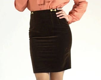 Vintage Velvet High Waisted Fitted Tight Pencil Knee Length Brown Gold Embellished Warm Winter Midi Skirt