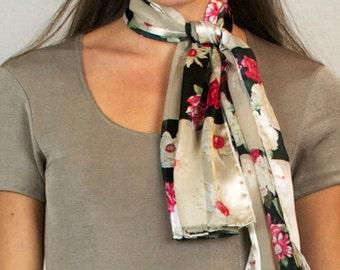 Vintage Floral Rose Flower Pink Black Oblong Silky Chiffon Lightweight Scarf