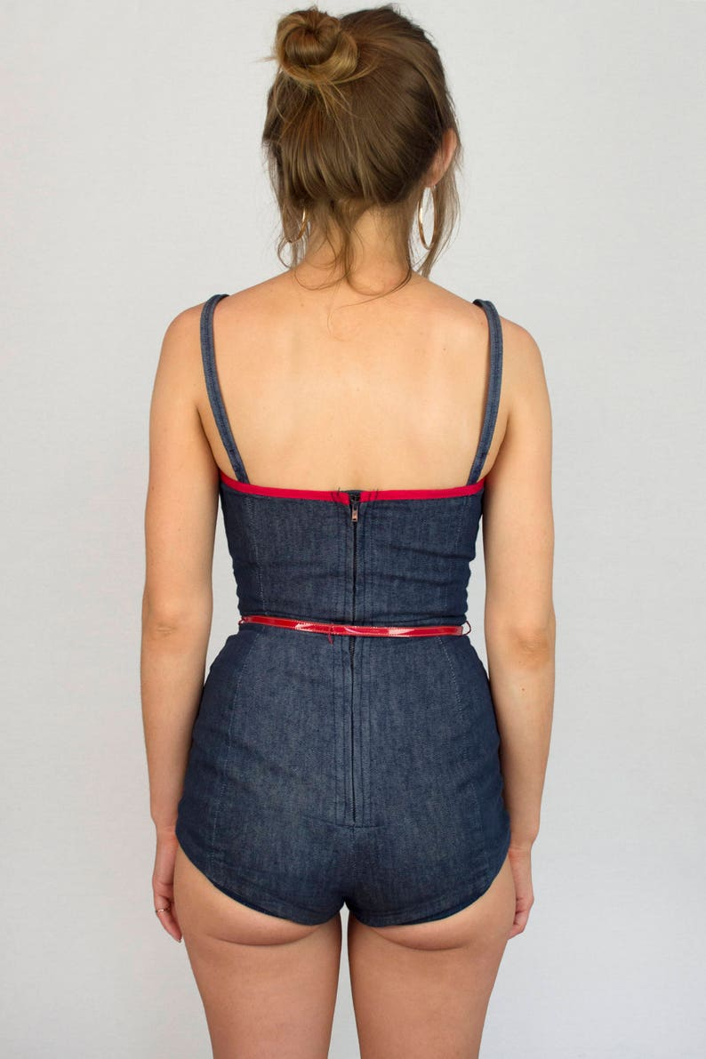 Vintage 1950s Denim One Piece Pin Up Rockabilly Blue Jean Red Trim Nautical Garbo Sleeveless Belted Suit Retro Women/'s Spring Summer Size XS