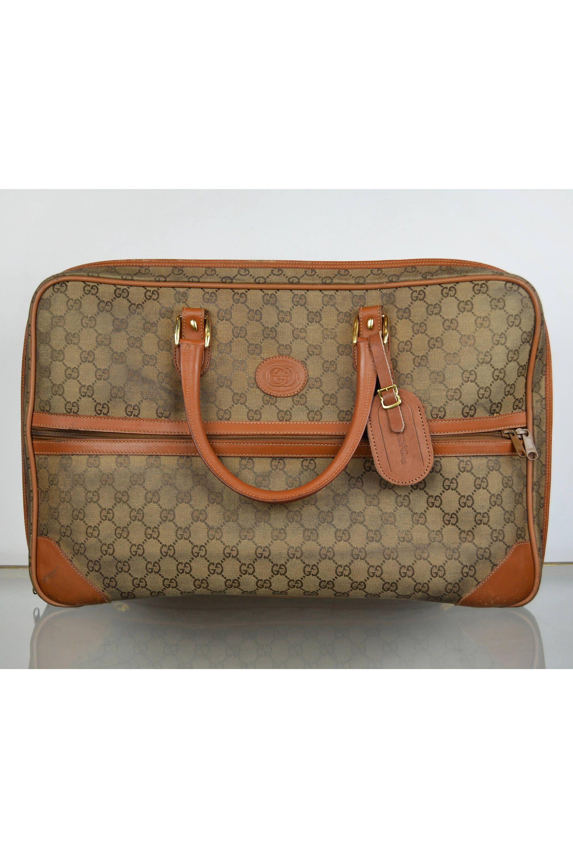 5e0f1963630 Vintage 70s 80s Gucci GG Logo Monogram Brown Tan Leather