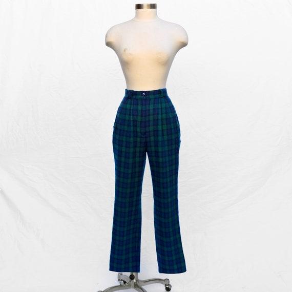 Vintage 1980s Green Navy Blue Tartan Plaid Wool H… - image 1