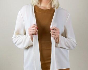 Vintage '80s Semi Sheer White Open Collarless Long Sleeve Lightweight Blazer