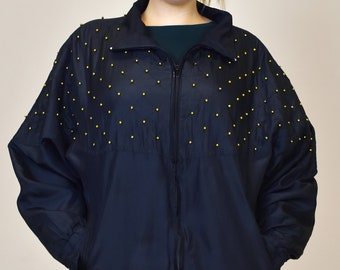 Vintage Black Windbreaker Jacket Zip Up Track Racer Bomber Gold Beaded Long Sleeve Spring Light Women's 1980s 90s Retro Size Large XL