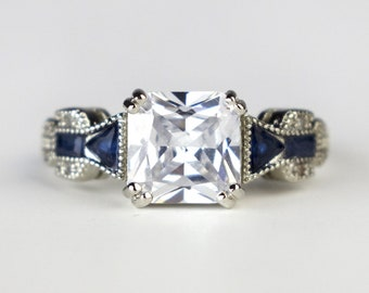 Vintage Diamond Blue Sapphire Ring Sterling Silver Virgo Birthstone Engagement Wedding Prong Set Asscher Cut Gemstone Women's Gift Size 7