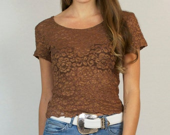 Vintage 80s 90s Lace Semi Sheer Short Sleeve T-Shirt Top