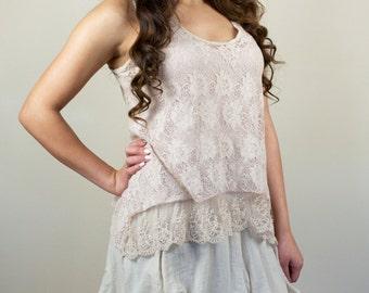 Vintage Lace Two-Piece Dress Midi Sleeveless Tiered Layered Bustle Beige Boho Light Spring Summer Romantic Size Medium