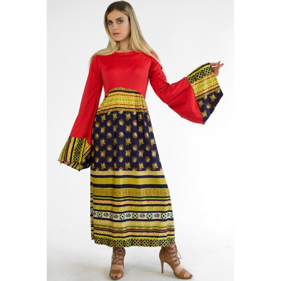 6745208bc0 Vintage Long Bell Sleeve Maxi Dress 1960s 1970s Boho Ethnic | Etsy