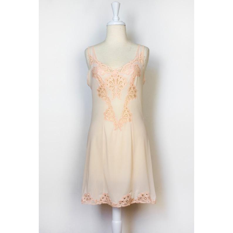 2b89b1aaf8228 Vintage Lace Slip Dress Chemise Cutout Pink Sleeveless   Etsy