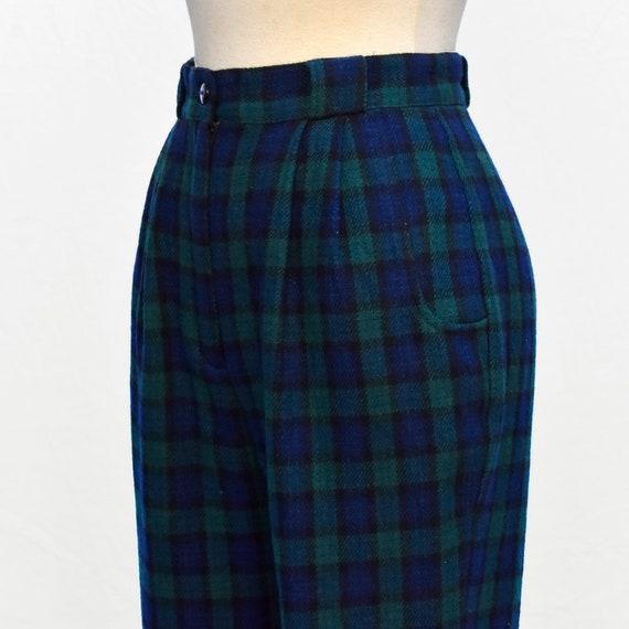 Vintage 1980s Green Navy Blue Tartan Plaid Wool H… - image 5