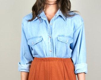 Vintage Light Washed Denim Button Down Long Sleeve Shirt