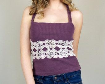 Crochet Racerback Top Sleeveless Purple Spring Summer Reworked Vintage