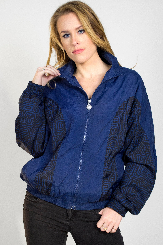 fa2f404d Vintage Reebok 1980s Windbreaker Jacket Nylon Zip Up Collared Elastic Navy  Blue Black Print Lined Spring Women's Size Small/Medium