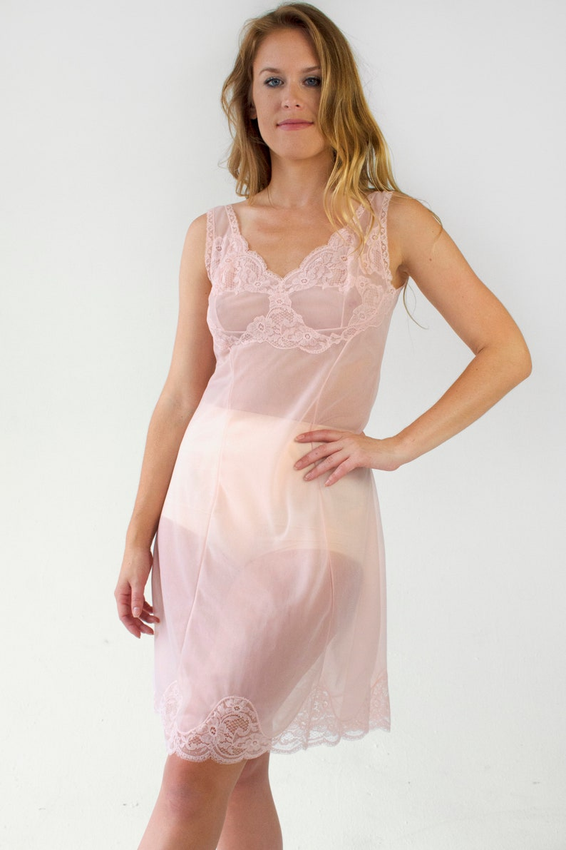 Vintage Lace Slip Dress Pink Sheer Negligee Lingerie Chemise  3f5d074e9