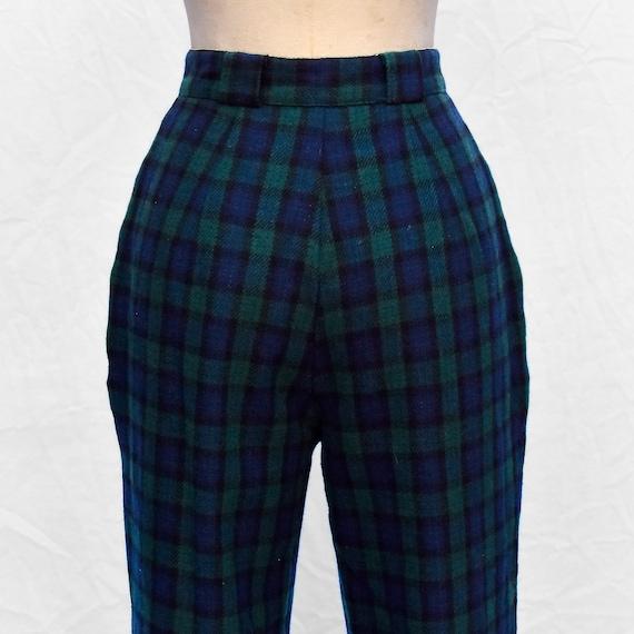Vintage 1980s Green Navy Blue Tartan Plaid Wool H… - image 6