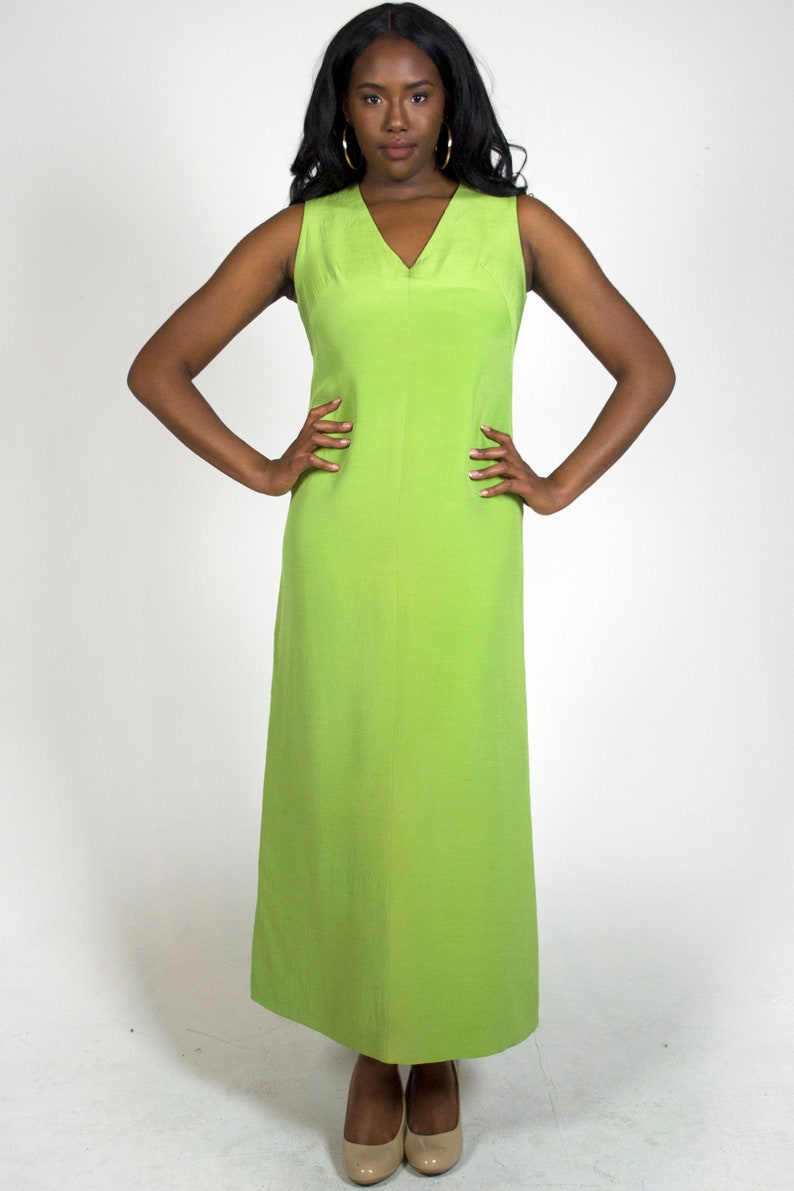 Vintage 1960s Bright Lime Green V-Neck Sleeveless Spring Summer Retro Wedding Guest Prom Formal Party Sheath Maxi Dress Women/'s Size Large