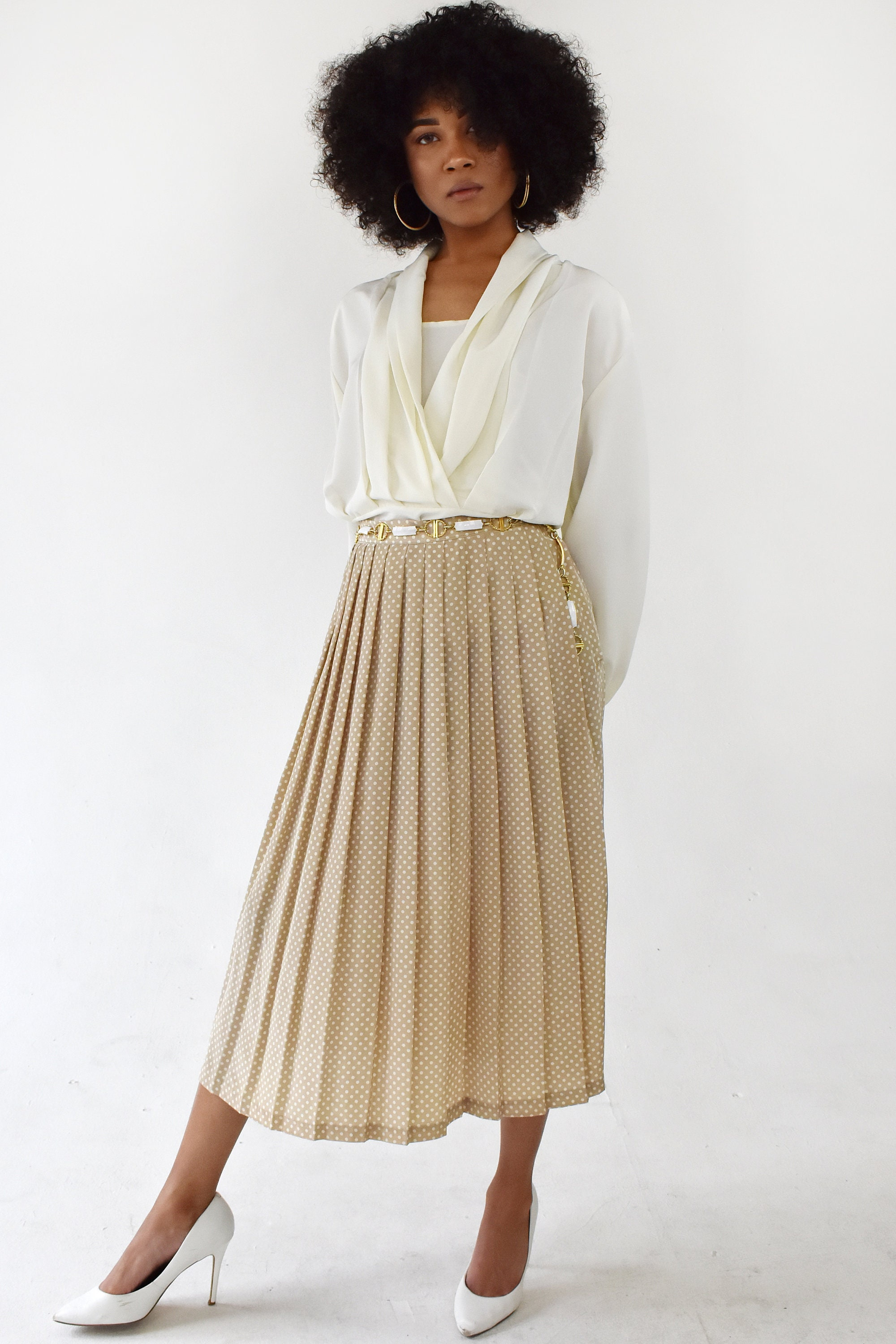 43b07a5549 Vintage High Waisted Pleated Midi Skirt A-Line Beige White | Etsy