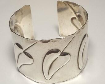 Mid Century Rebajes Sterling Heart Cuff Bracelet-1940's