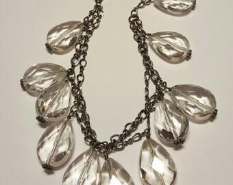 Sterling and Faceted Crystal Art Deco Multi-Strand Bracelet, 1930's