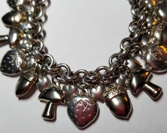 Vintage Whimsical Sterling Charm Bracelet-Acorns,