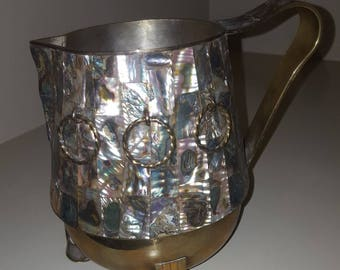 Amazing Vintage Salvador Teran Brass and Abalone Inlaid Pitcher-Taxco 1950's