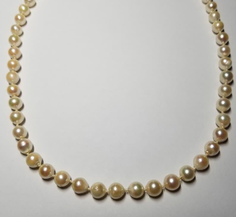 Estate Semi-Baroque Akoya Pearl Necklace-14k Clasp
