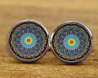 Sacred Geometry Mandala Cufflinks, bliss cufflinks, personalized cufflinks, custom wedding cufflinks, round, square cufflinks, tie bars, set