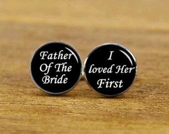 father of the bride, i loved her first cufflinks, custom photo cufflink, custom wedding cuff links, round, square cufflinks, tie clip or set