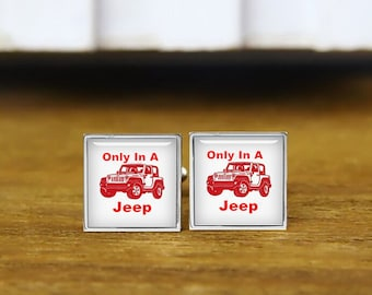 Only In A Jeep Cuff Links, Personalized Cufflinks, Red Jeep Cuff Links, Custom Wedding Cufflinks, Round, Square Cufflinks, Tie Clips, Or Set