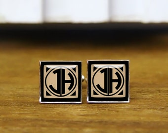 1920s Film Style Initials Cufflinks, Custom Monogrammed Letter Cufflinks, Personalized Cufflinks, Custom Initial Square Cufflinks & Tie Clip