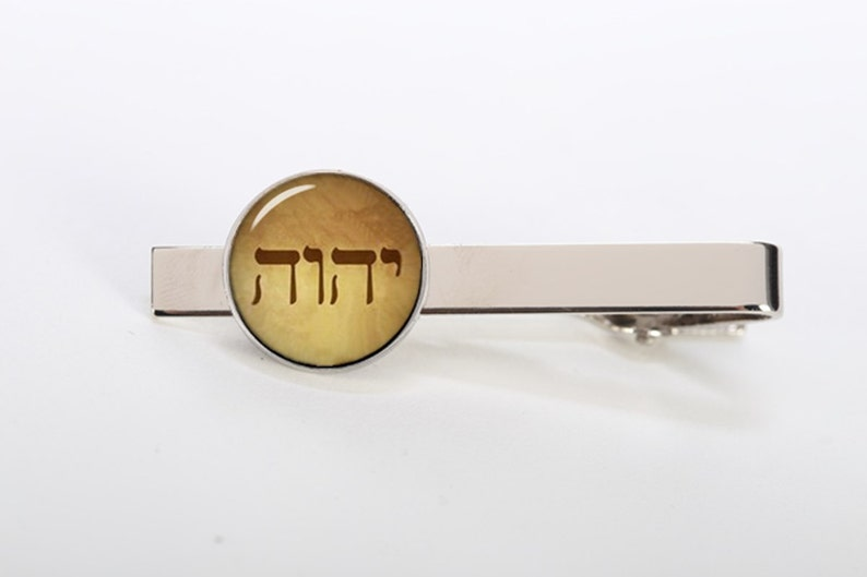 tetragrammaton tie clip, custom image tie clips, round or square cufflinks  & tie tacks, Hebrew Tetragrammaton Letters of Jehovah's Name, god
