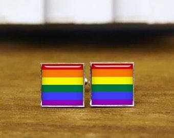 LGBT pride square cufflinks, LGBT cufflinks, custom lgbt cuff links, custom wedding cufflinks, round, square cufflinks, tie clips, or set