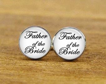 father of the bride cufflinks, custom fonts and background cufflinks, custom wedding cuff links, round, square cufflinks, tie clip or set