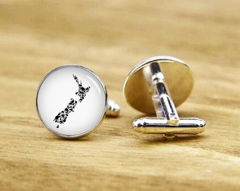 New Zealand Cufflinks, Full Kiwis, Map Gift, Personalized Cufflinks, Custom Wedding Cufflinks, Round, Square Cufflinks, Tie clips, Or Set