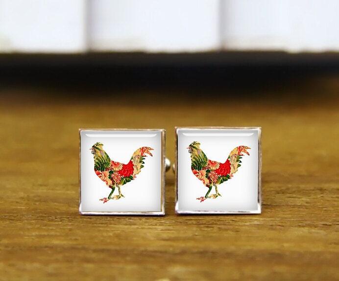 Chicken Cufflinks Big Cock Cuff Links Custom Personalized  Etsy-2861