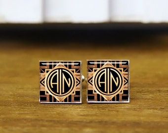 custom initial cufflinks, 1920s film style, custom 2 letter round or square cufflinks & tie clip, personalized wedding cufflinks, groom gift