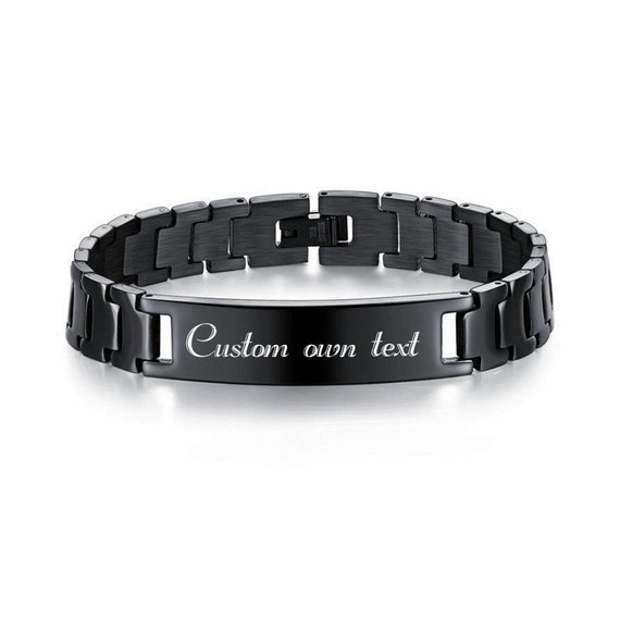 engraved with photo and text Steel bracelet