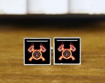 Fire Department Cufflinks, Fireman Cufflinks, Firefighter Gifts, Personalized Cufflinks, Custom Wedding Cufflinks, Round, Square Cufflinks