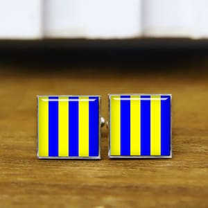 Kooer Maritime Signal Flags Cufflinks Custom Personalized Marine Nautical Flags Cuff Links for Sailor Seaman Mariner Murray Gift Style 1