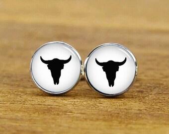 ON SALE, tauren cufflinks, cow skull cuff links, cow skull cufflinks, personalized cufflinks, cow skull tie tacks, cow skull tie clips