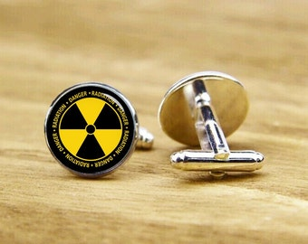Radiation Symbol Cufflinks, Radiation Cufflinks, Personalized Cufflinks, Custom Wedding Cufflinks, Round, Square Cufflinks, Tie Clip, Or Set